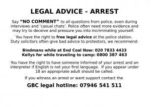 Bustcard End Coal Now camp 2016 - arrest