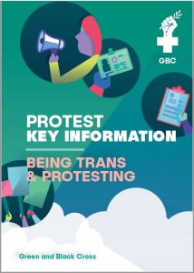 "Image showing front cover of ""Protest Key Information: Being Trans & Protesting"" booklet"