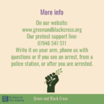 This graphic points people to the GBC website and protest support line